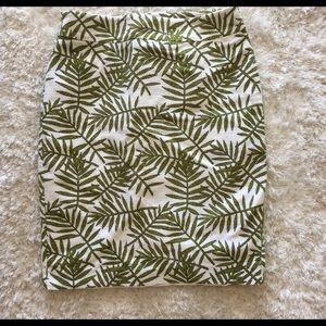 Ann Taylor Palm Leaves Pencil Skirt Sz 2